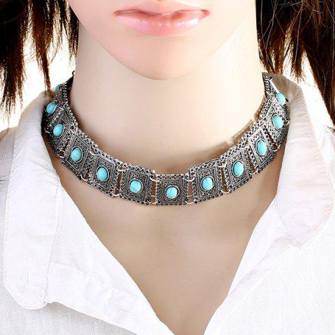 Latest Faux Turquoise Geometric Choker Necklace SILVER