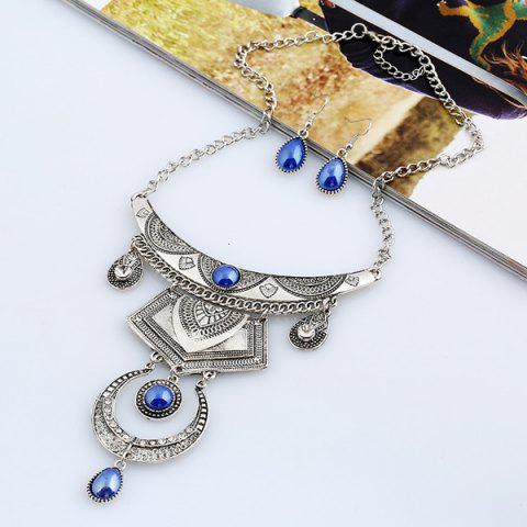 Fancy Faux Gem Engraved Moon Jewelry Set SILVER AND BLUE
