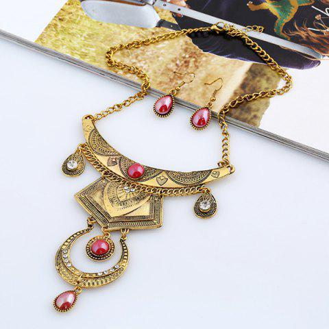 Outfit Faux Gem Engraved Moon Jewelry Set GOLD AND RED