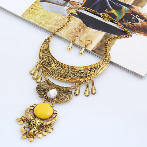 Bijoux en alliage Lune Water Drop Set Jaune