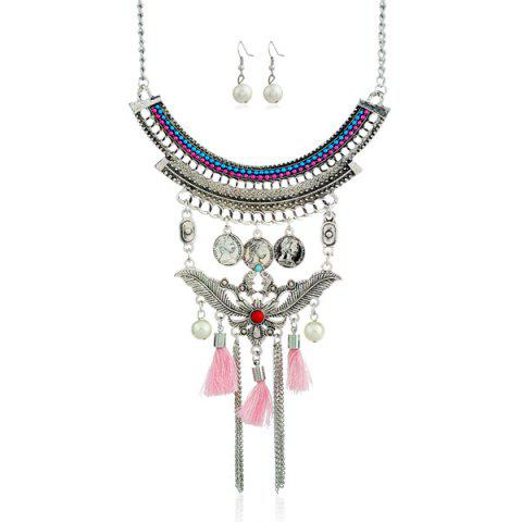 Cheap Faux Pearl Leaf Coin Jewelry Set