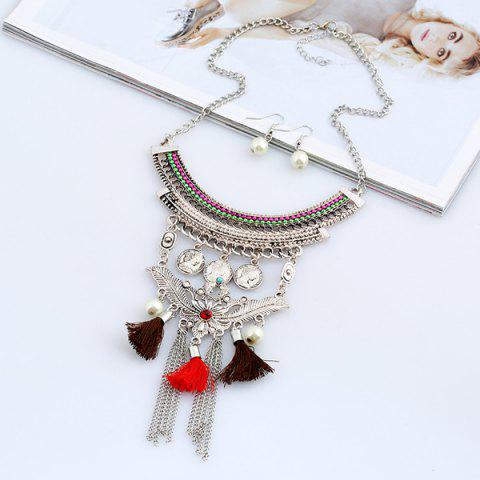 Latest Faux Pearl Leaf Coin Jewelry Set - COLORMIX  Mobile