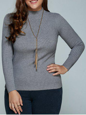 Fashion Plus Size Ribbed Fitted Knitwear GRAY 5XL