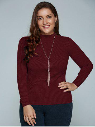 Plus Size Ribbed Fitted Knitwear - Wine Red - Xl