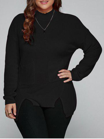Plus Size Slit High Low Sweater - Black - Xl