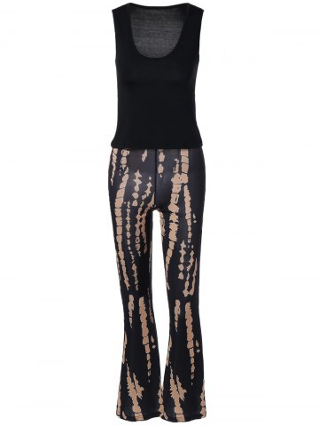 Trendy Plung Tank Top and   Printed Boho Pants Set