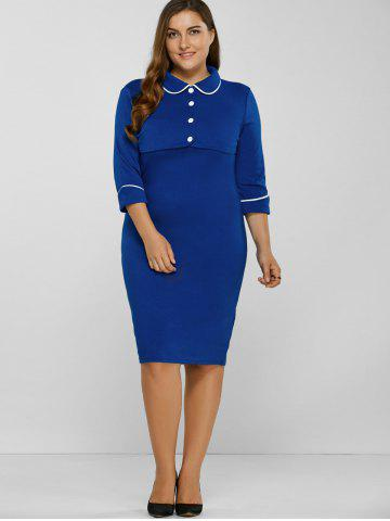 Sale Fitted Contrast-Trim Buttoned Sheath Dress