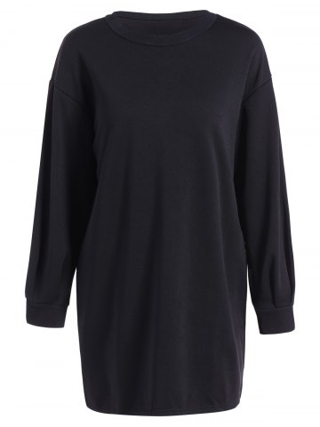 Lantern Sleeve Loose Sweatshirt Dress - Black - S