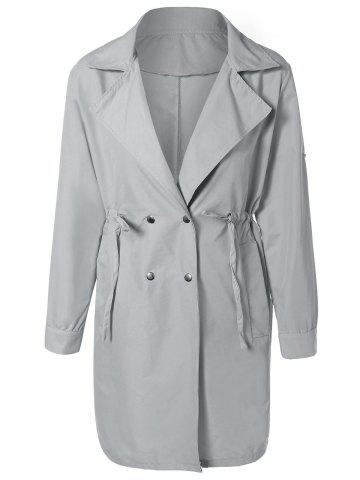 Outfits Drawstring Waist Double Breasted Long Trench Coat