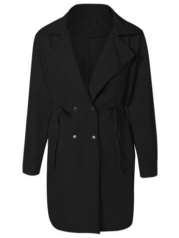 Drawstring Waist Double Breasted Long Trench Coat - Black - One Size