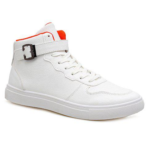 Discount Tie Up Buckle PU Leather Boots WHITE 43