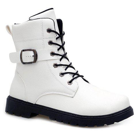 Unique Buckle Strap Zipper Tie Up Boots - 44 WHITE Mobile