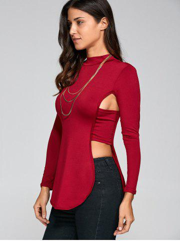 Affordable Long Sleeve Cut Out Backless T-Shirt