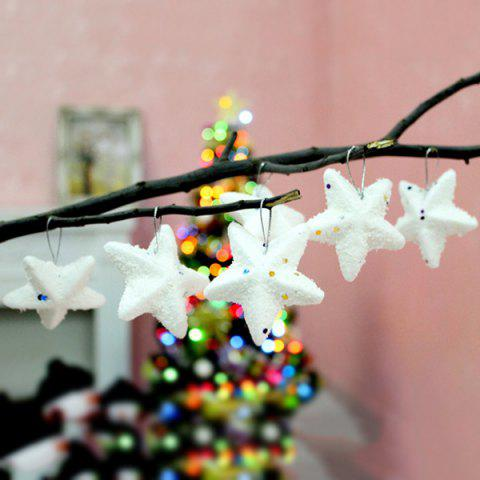 Cheap 6PCS Festival Party Supplies Christmas Tree Hanging Stars Decoration - WHITE  Mobile