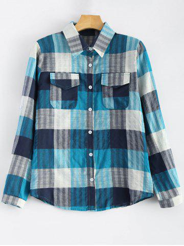 Outfits Flap Pockets Plaid Shirt BLUE S