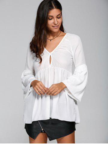 Unique Plunging Neck Puff Sleeve Loose Ruched Blouse