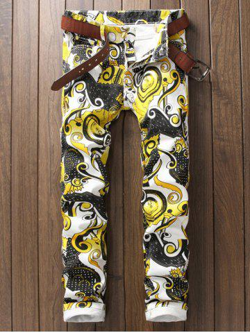 Shops Ornate Printed Zipper Fly Casual Pants WHITE 38