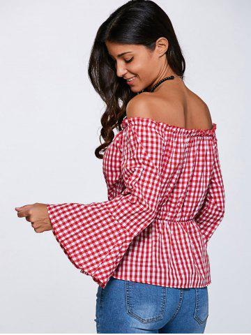 Outfits Flare Sleeve Off The Shoulder Checked Blouse