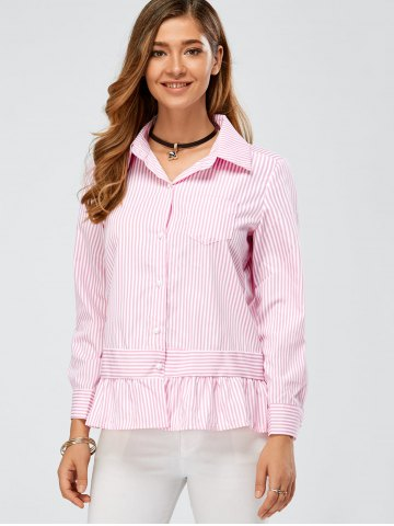 Long Sleeve Peplum Striped Shirt - PINK L