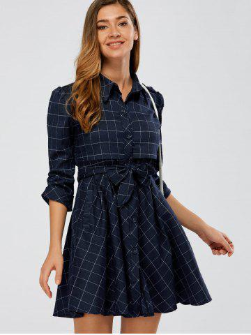 Fancy Ruffle Plaid Shirt Dress CADETBLUE 2XL