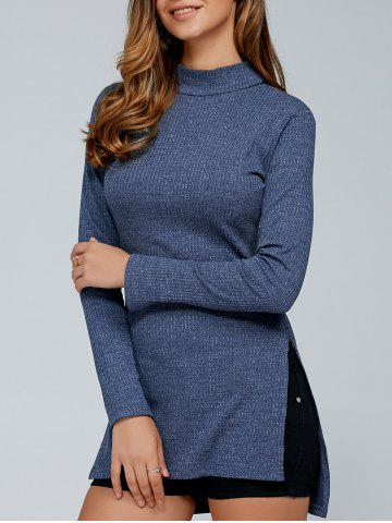 Unique Fitted Slit Mock Neck Pullover Sweater GRAY L
