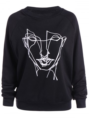Fashion Plus Size Loose Abstract Face Print Sweatshirt