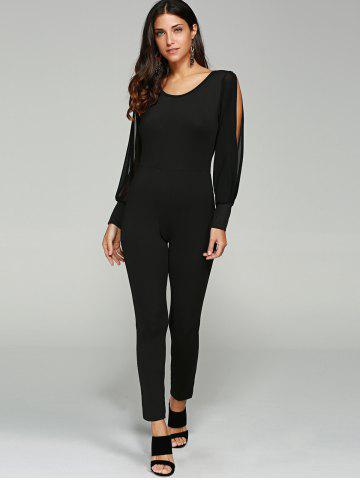 Discount Split Sleeve Skinny Leg Jumpsuit - L BLACK Mobile