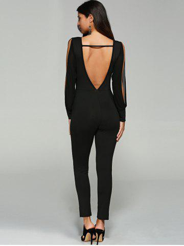 Fashion Split Sleeve Skinny Leg Jumpsuit - L BLACK Mobile