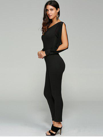 Affordable Split Sleeve Skinny Leg Jumpsuit - L BLACK Mobile