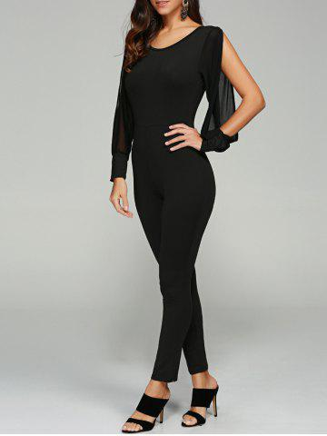 Discount Split Sleeve Skinny Leg Jumpsuit - M BLACK Mobile