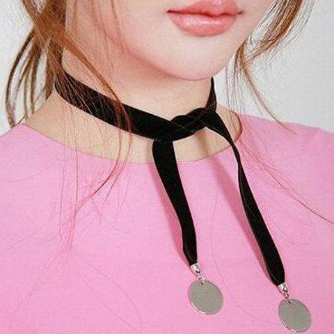 Hot Velvet Knotted Disc Choker Necklace SILVER WHITE