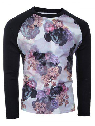 Fancy Raglan Sleeves Floral Printed Sweatshirt