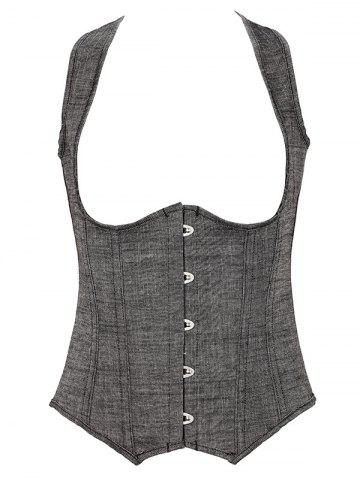 Discount Denim Cupless Corset Vest GRAY 6XL