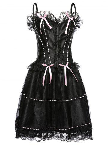 Online Spaghetti Strap Corset Top and Bubble Skirt Set BLACK 2XL
