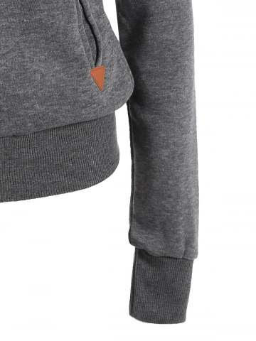 Shop Casual Style Solid Color Long Sleeves Hoodie For Women - DEEP GRAY M Mobile