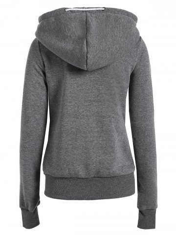 Affordable Casual Style Solid Color Long Sleeves Hoodie For Women - DEEP GRAY M Mobile