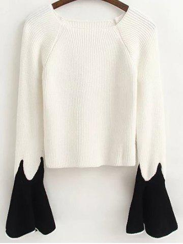 Sale Flare Sleeve Color Block Fitting Sweater