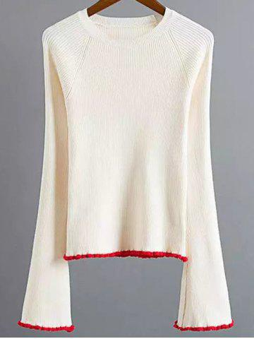 Buy Flare Sleeve Stretchy Color Block Knitwear