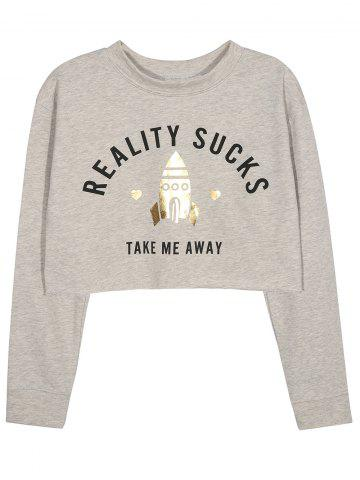 Outfits Cropped Graphic Sweatshirt GRAY XL