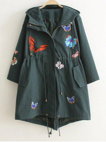 Outfits Hooded Embroidered Drawstring Coat