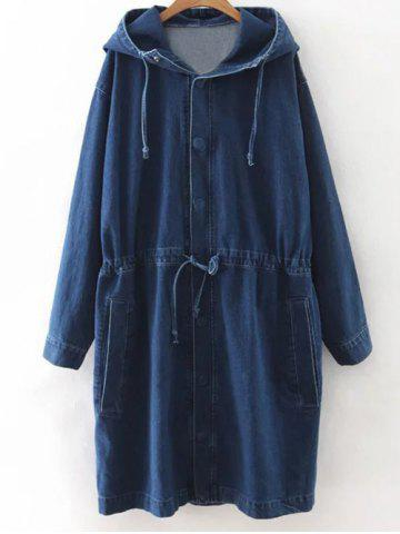 Unique Hooded Drawstring Denim Coat