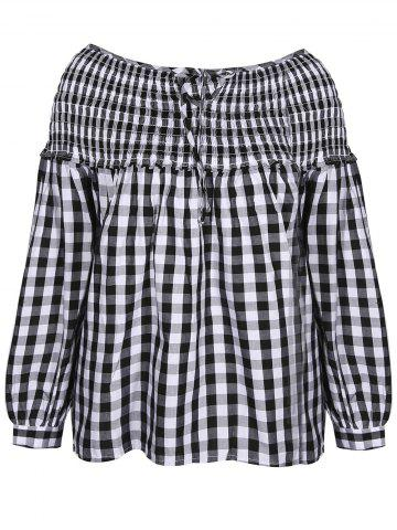 Shop Gingham Check Smock Blouse WHITE AND BLACK XL