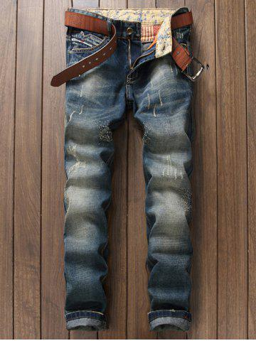 Scratched Zipper Fly Straight Leg Jeans - Blue - 29