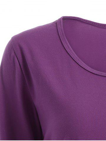 Sale Chic Scoop Collar Long Sleeve Sequined Women's T-Shirt - M PURPLISH RED Mobile