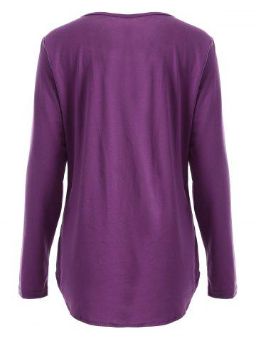 Chic Chic Scoop Collar Long Sleeve Sequined Women's T-Shirt - L PURPLISH RED Mobile