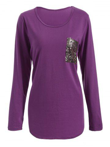 Sale Chic Scoop Collar Long Sleeve Sequined Women's T-Shirt - L PURPLISH RED Mobile