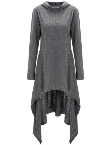 High Low Hooded Dress with Long Sleeves - Gray - L