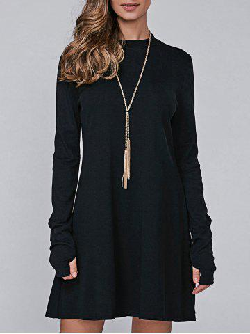 Affordable High Neck Long Sleeve Casual Jumper Dress BLACK XL