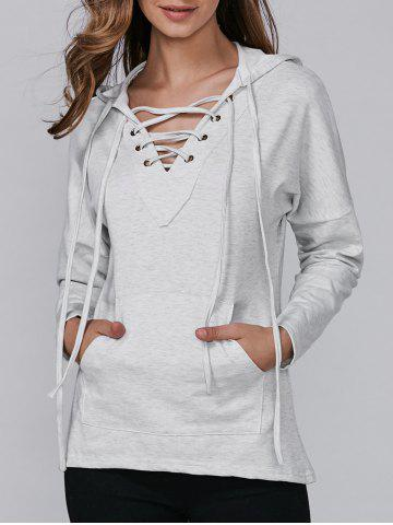 Latest Long Sleeve Hooded Lace-Up Pocket T-Shirt GRAY XL