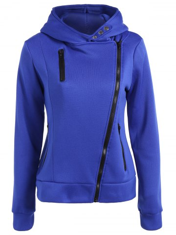 Discount Zipper Hooded Hoodie - XL SAPPHIRE BLUE Mobile